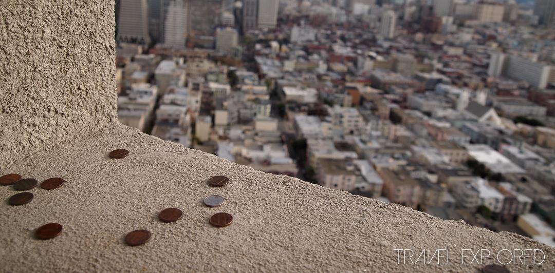 San Francisco - Coit Tower Coins on Windowsill