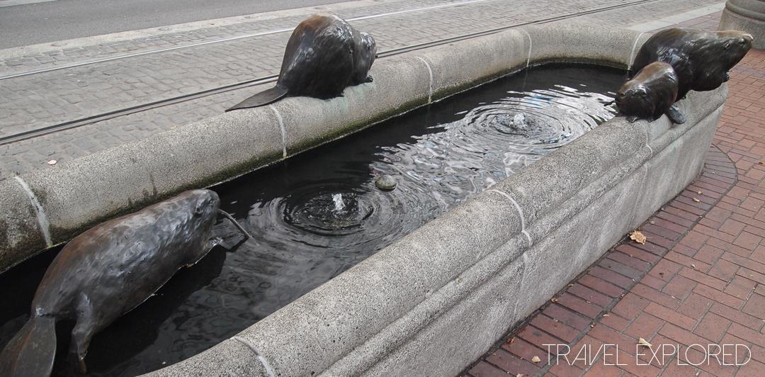 Portland - Bronze Beavers Statue on Fountain
