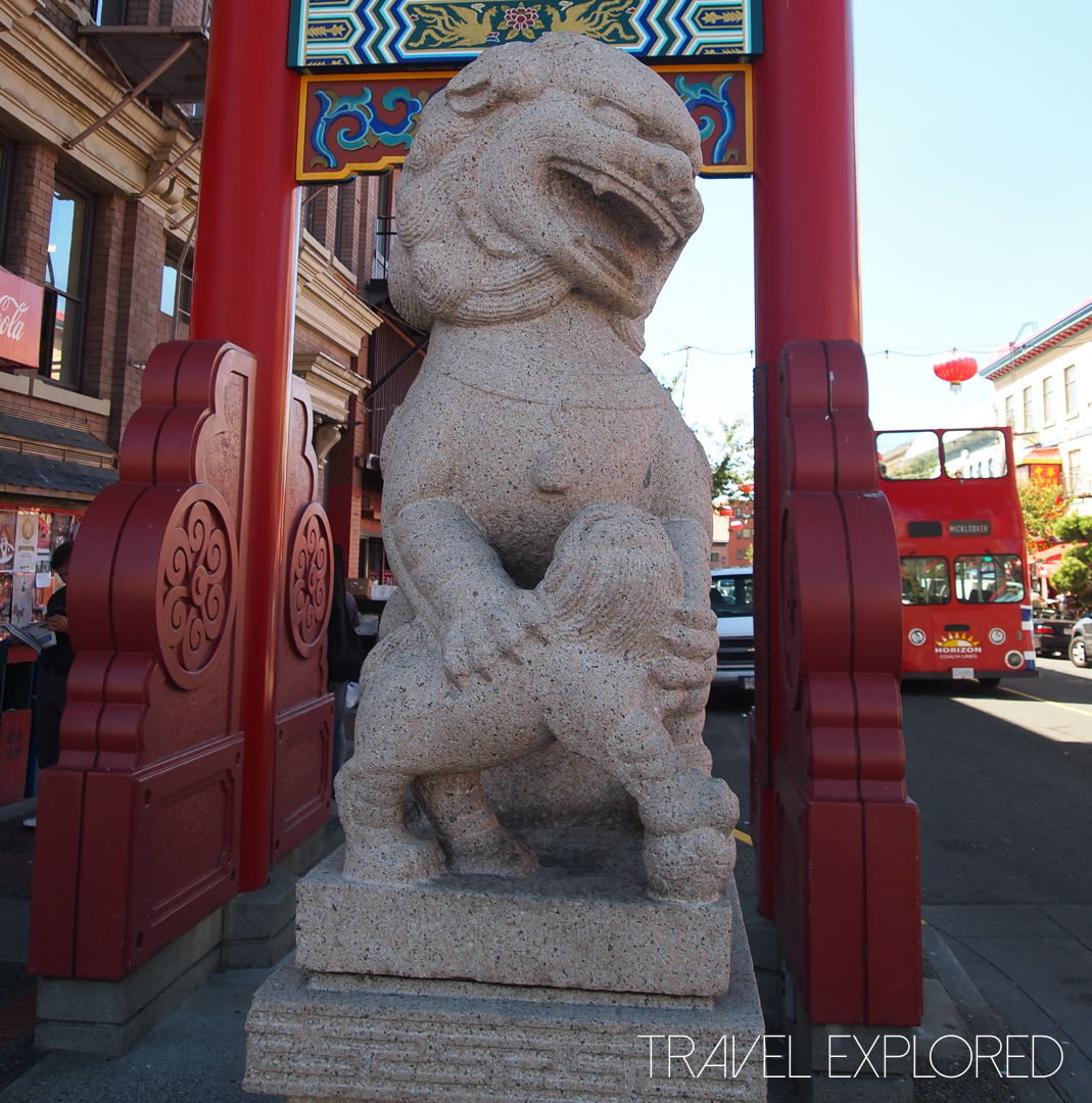 Victoria - Stone Lion at Entrance to Chinatown