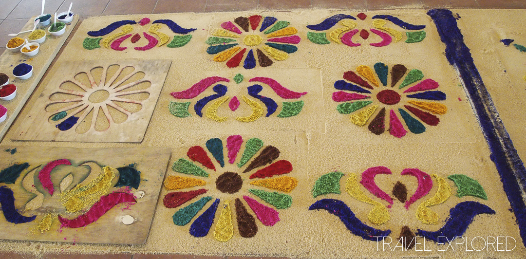 Guatemala Easter Art From Coloured Sawdust