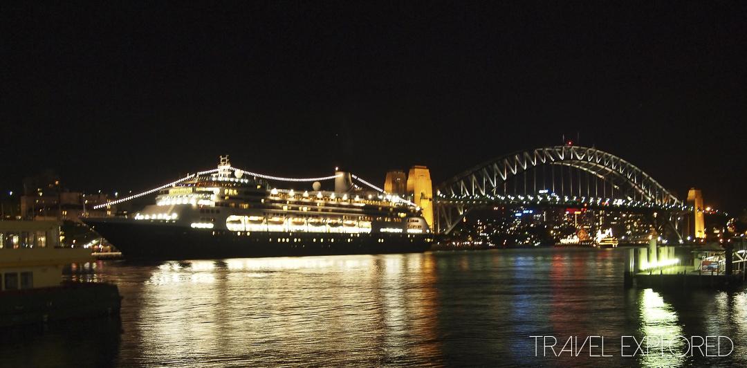 MS Volendam and Sydney Harbour Bridge by night