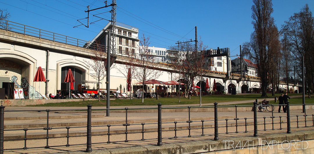 Berlin - Cafe's and stores under train line
