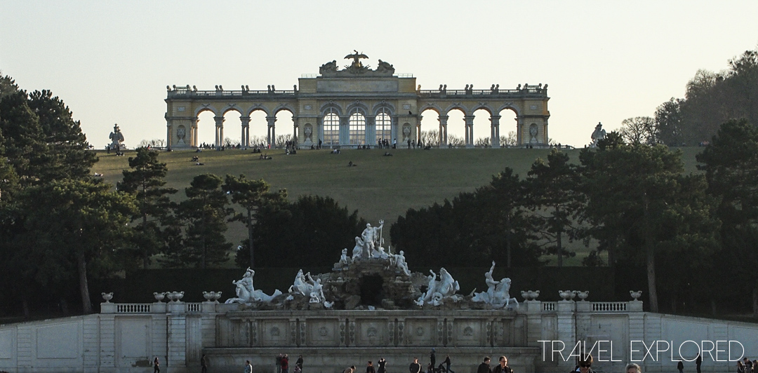 Vienna - Gloriette on hill behind Neptune Fountain