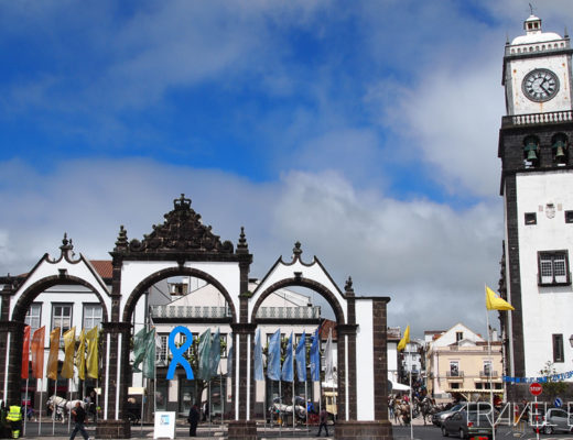Ponta Delgada - Main Square, Old Town Gates & Church