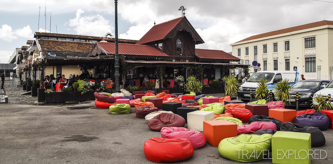 Lisbon - Colourful beanbags at cafe