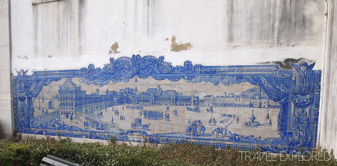 Lisbon Blue and white tiled image on church
