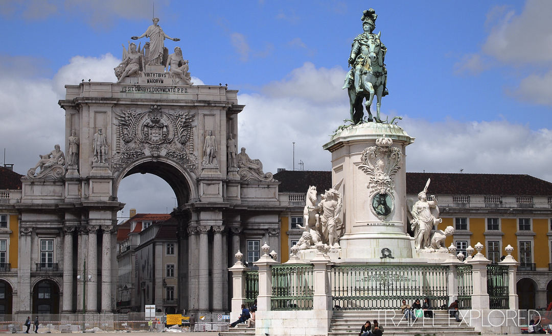 Lisbon - In Praça do Comércio (Commerce Square), The Statue of Kine José I and the Old City Gate