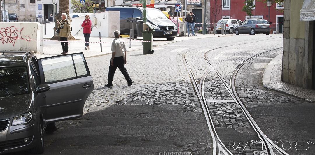 Lisbon - Street and streetcar tracks
